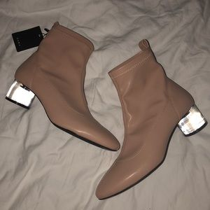 Zara Faux Leather Acrylic Heel Booties